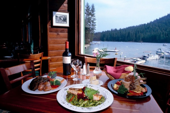 Duceys on the Lake dining on Bass Lake
