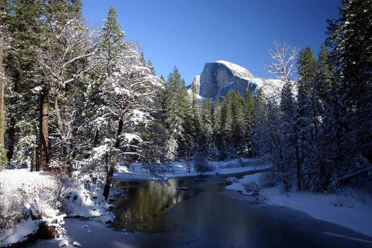 Wintery Merced River and Half Dome