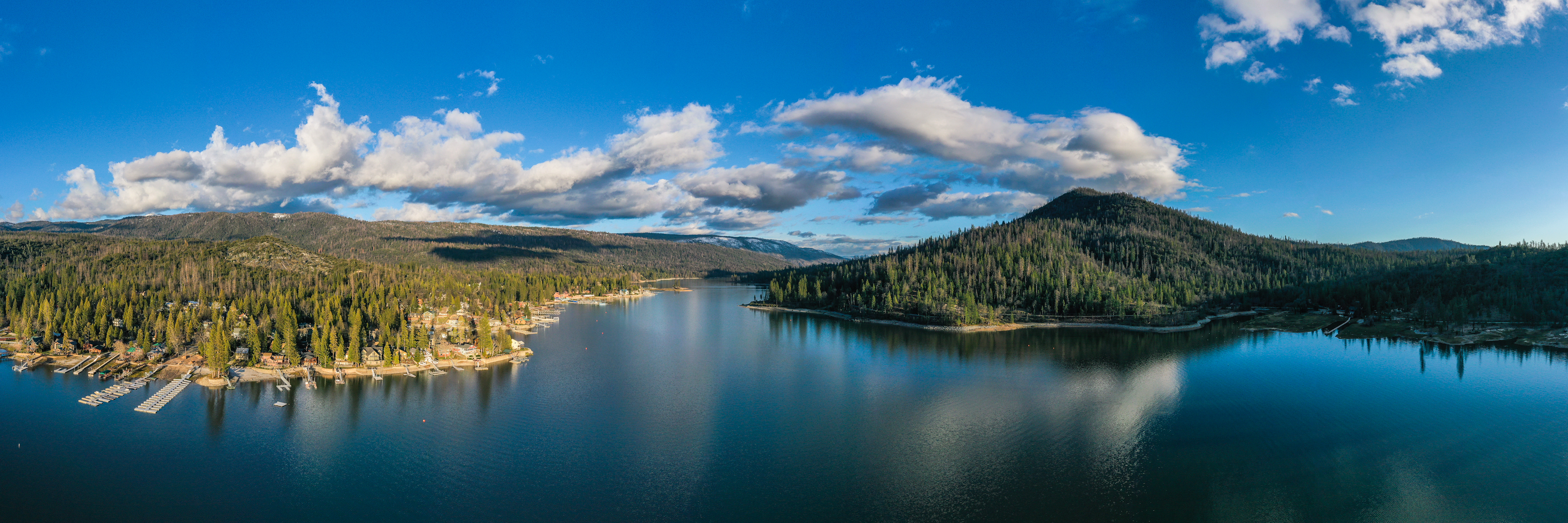 Aerial panorama of Bass Lake in Spring