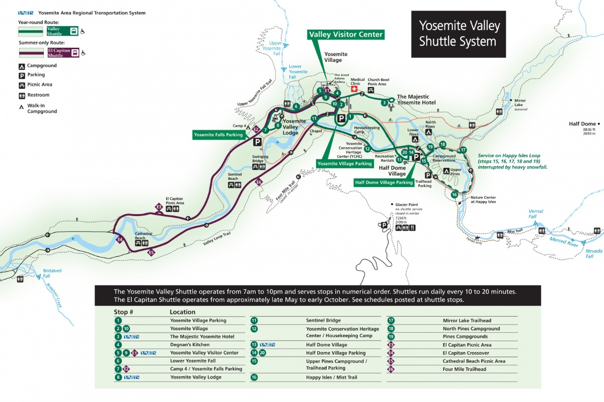 Yosemite Valley Shuttle Map