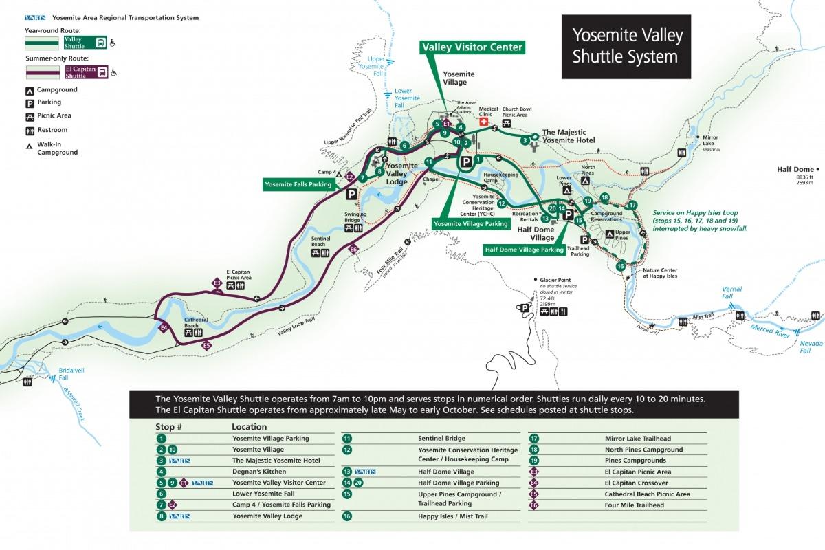 Yosemite Valley Shuttle Map
