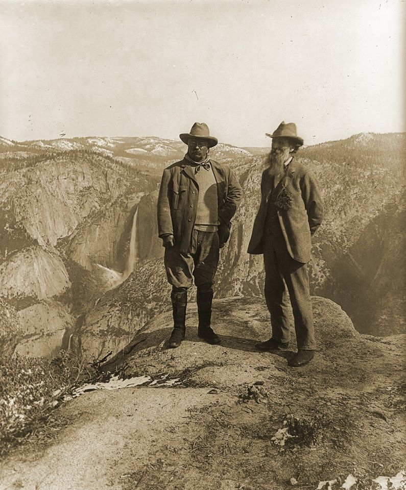 John Muir and President Roosevelt at Yosemites Glacier Point, 1903