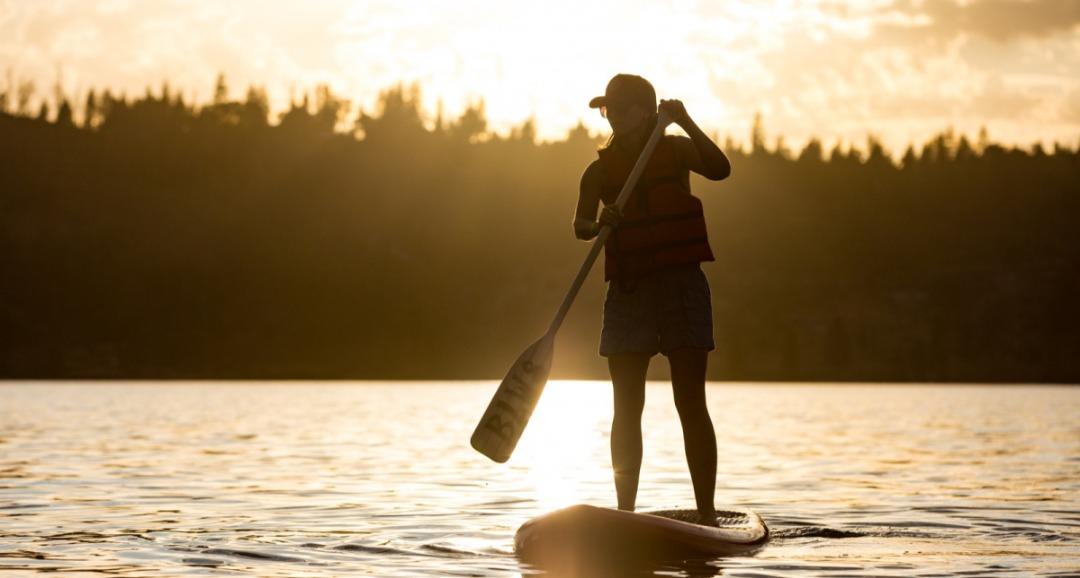 Paddleboarding on Bass Lake