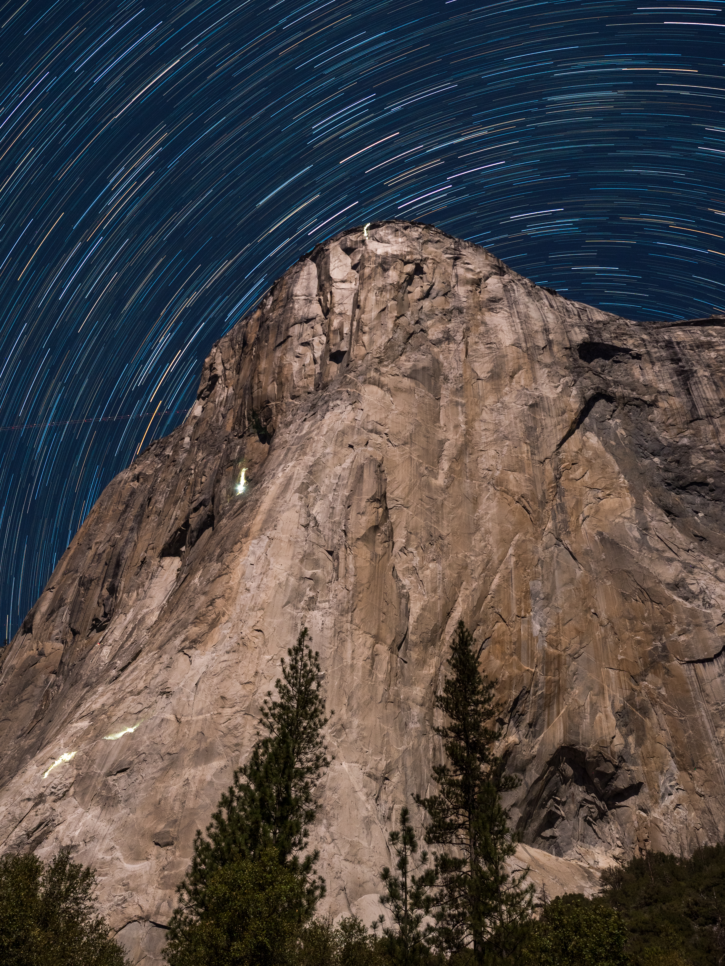 Star trails and night-time rock climbers on El Capitan in November 2019