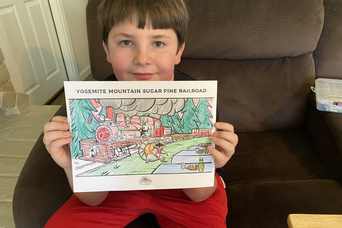 Yosemite Mountain Sugar Pine Railroad Coloring Page all colored from the Welcoming Committee Activity Kit