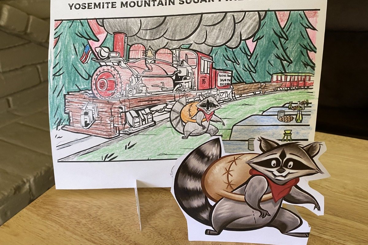 Scene with Coloring Page background and Character Cutout from the Welcoming Committee Activity Kit