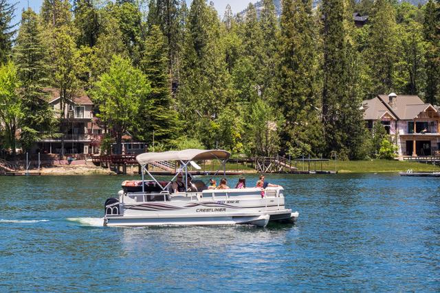 Patio boating on beautiful Bass Lake
