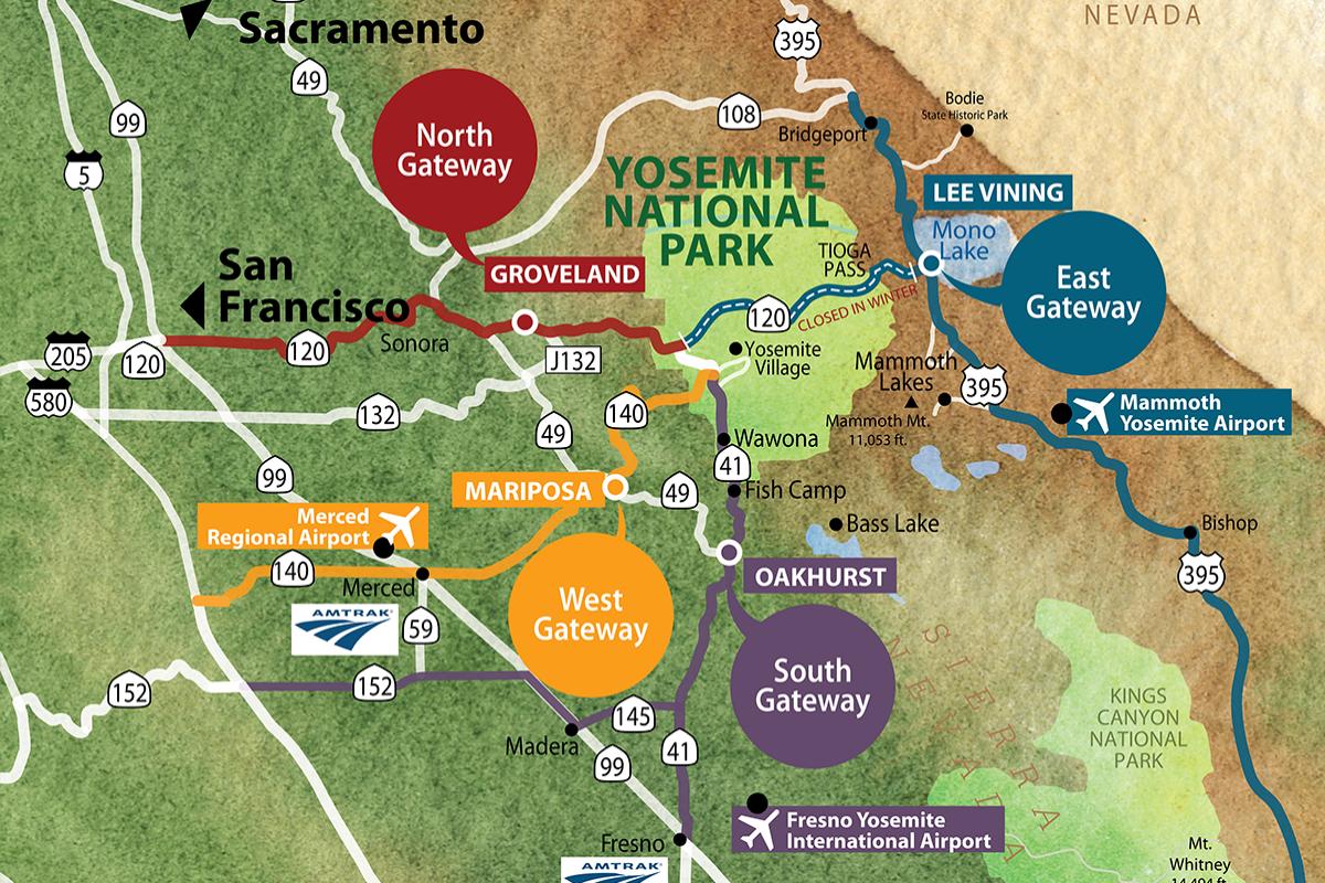 Yosemite Gateways Map