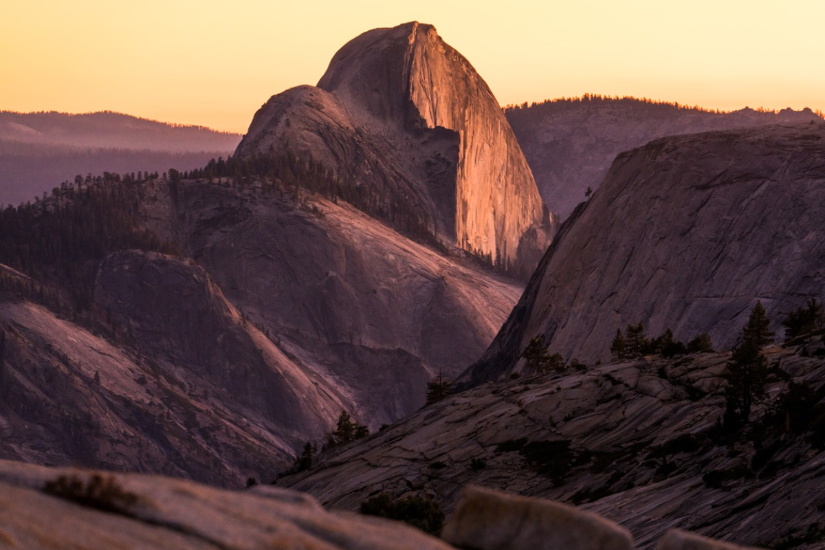 Sunset on Half Dome viewed from Olmsted Point