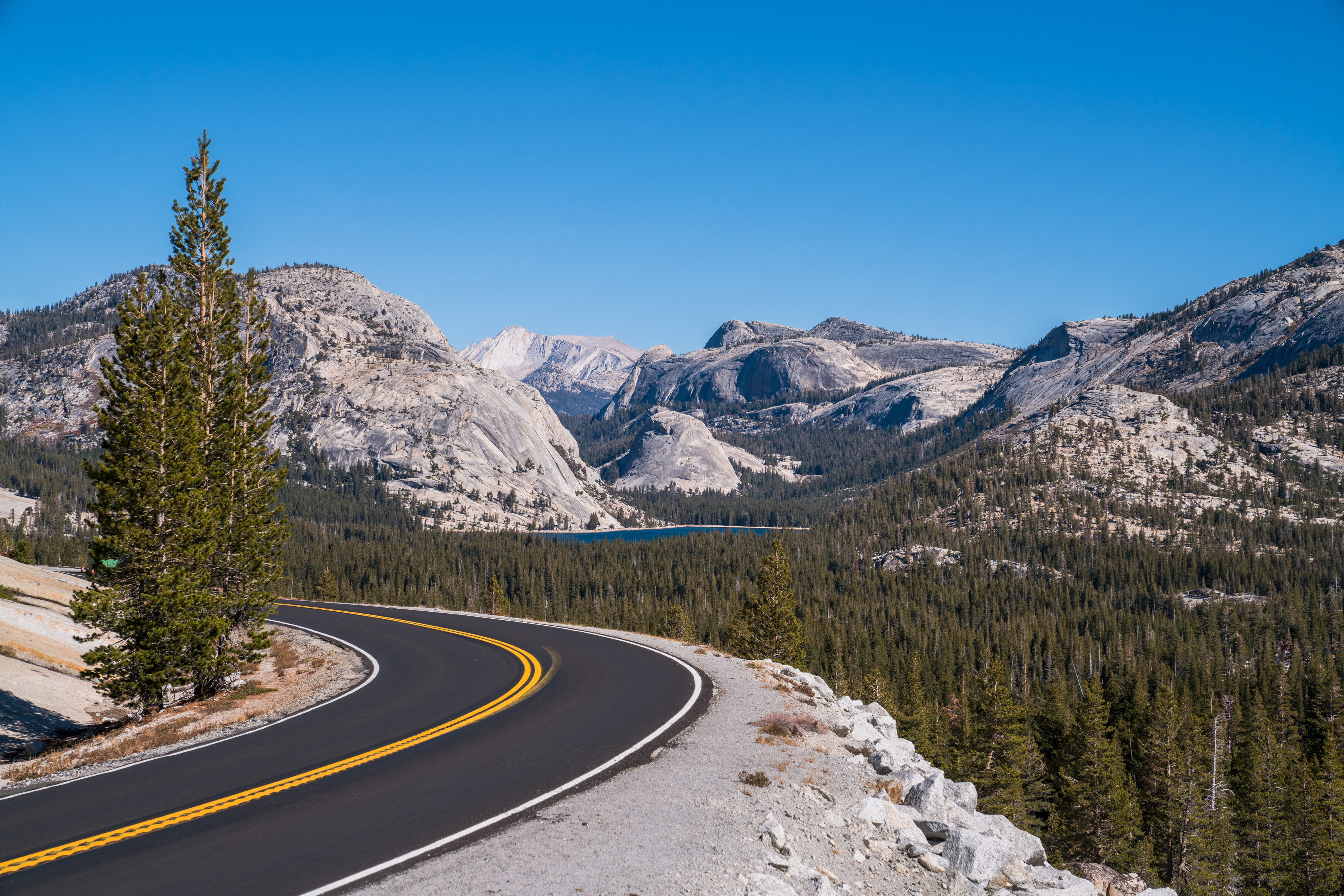 Highway 120 East with Tenaya Lake in the distance