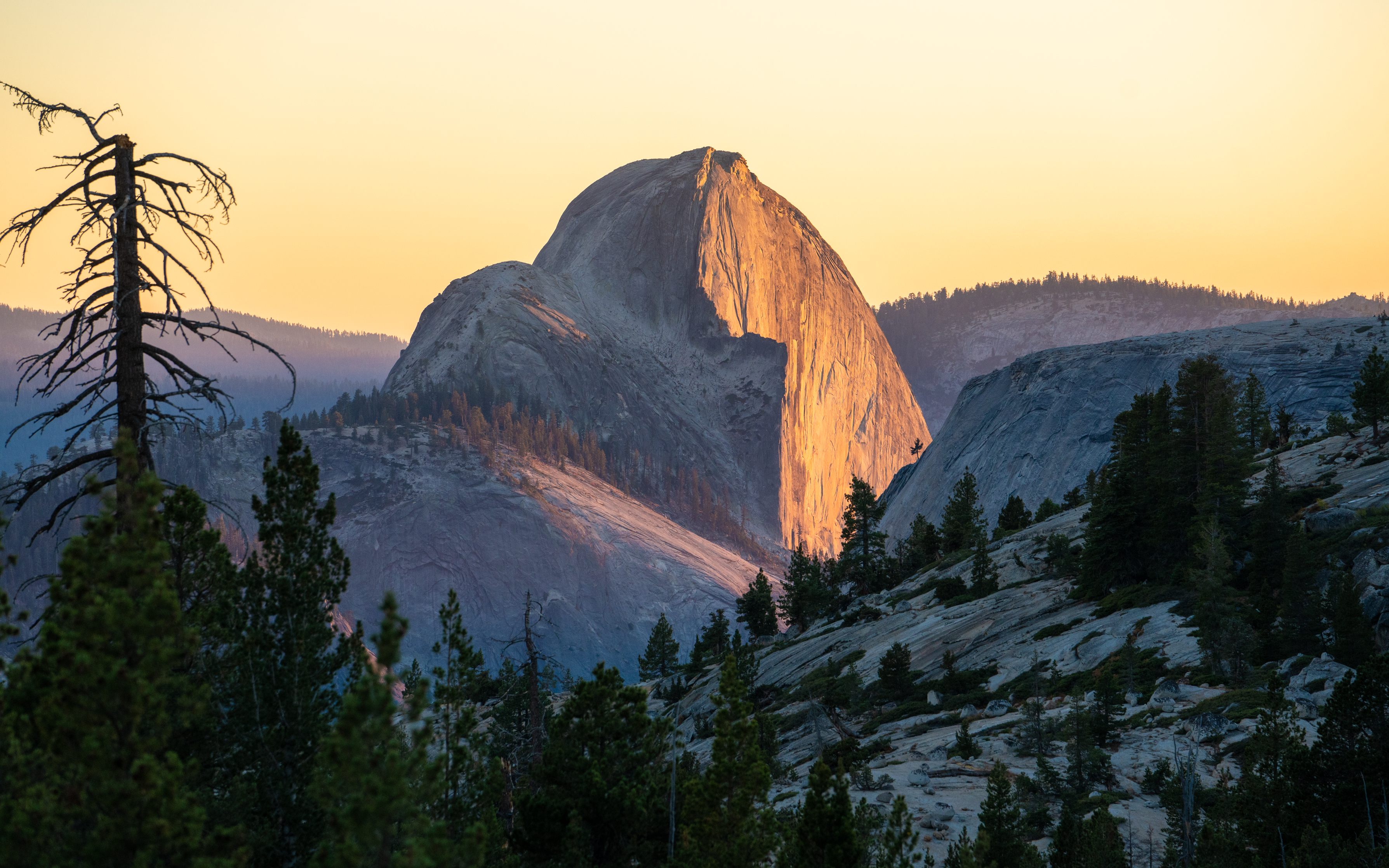Sunset on Half Dome as seen from Olmsted Point