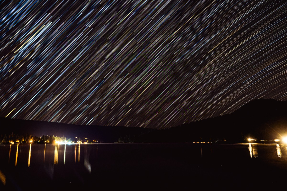 Star trails over bass lake
