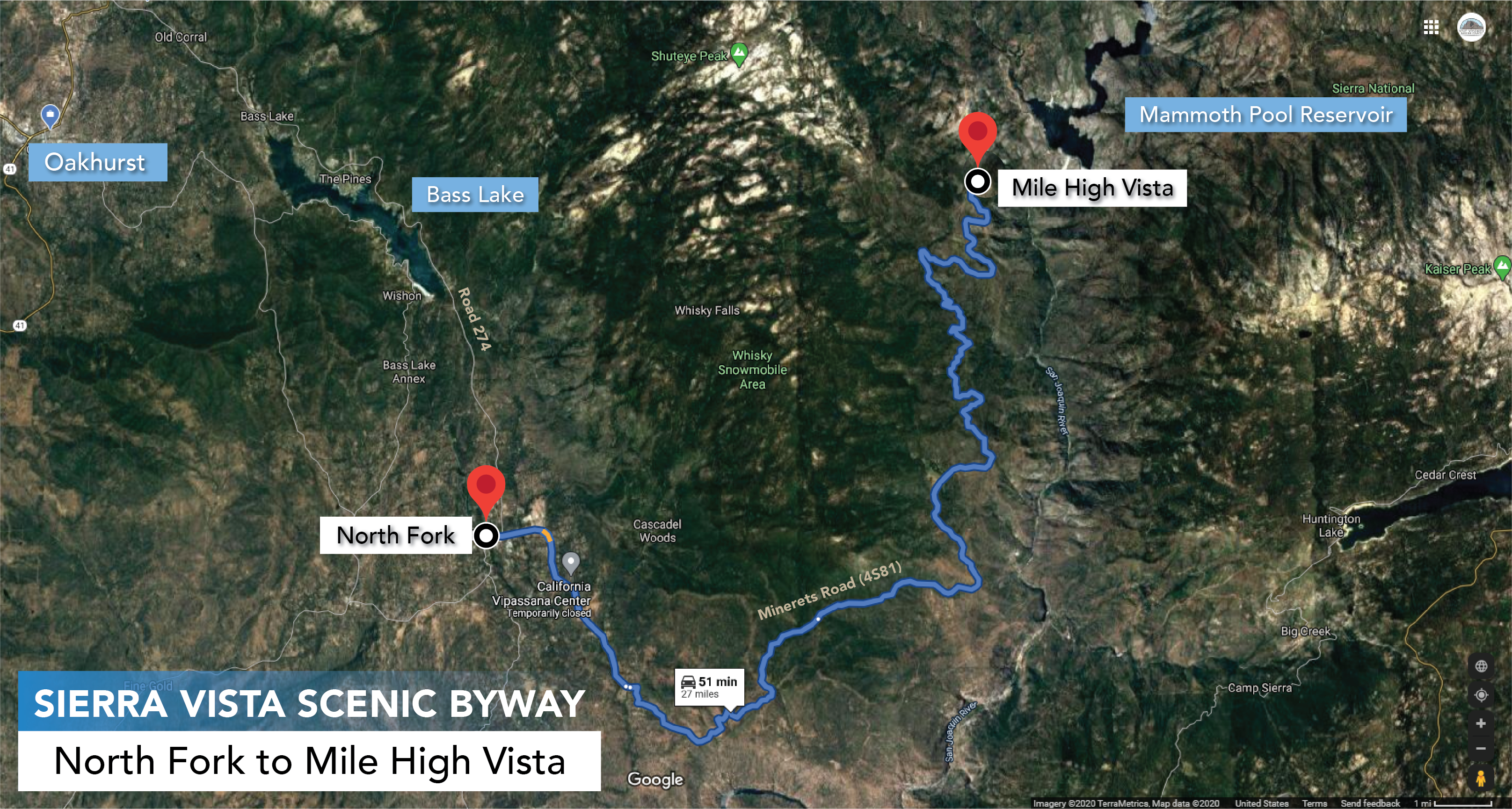 Sierra Vista Scenic Byway Map - North Fork to Mile High Vista
