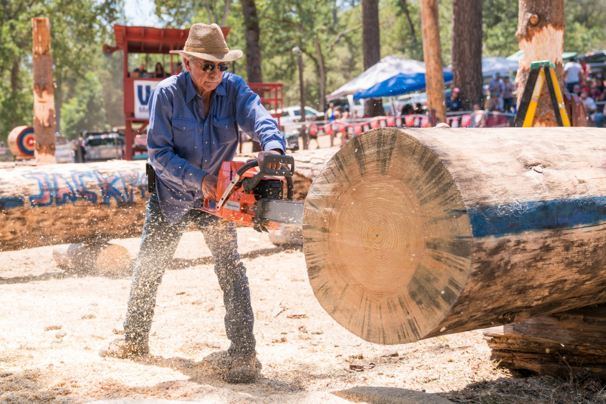 "Tom Wheeler midway through a 24"" pine log during the Stock Power Saw event"
