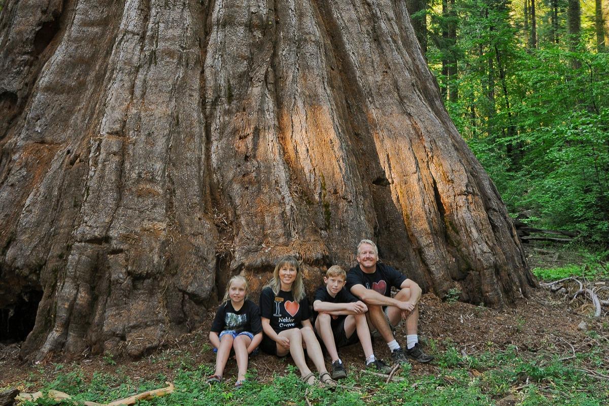 Nedley Family at the base of the Bull Buck Tree in Nelder Grove of Giant Sequoias