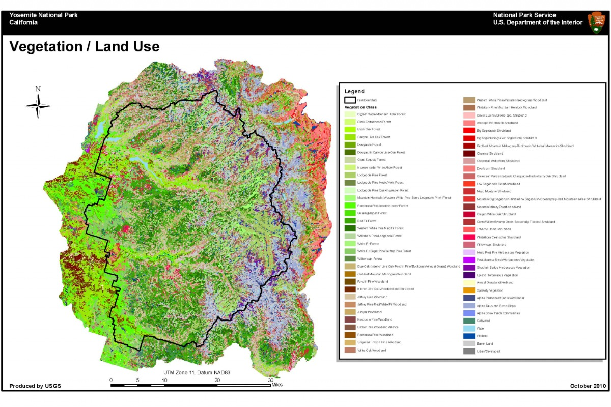 Map of Vegetation and Land-Use in Yosemite