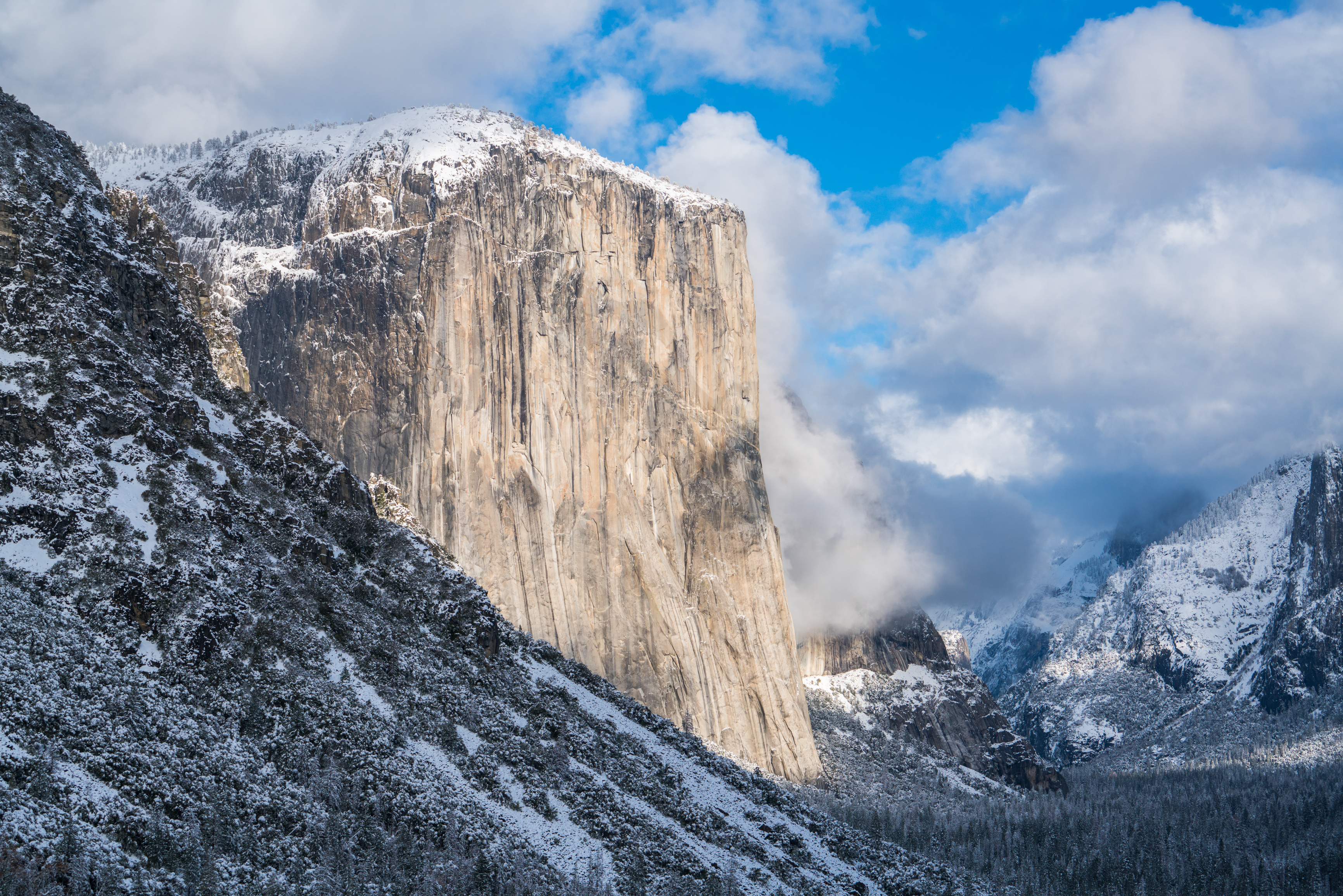 Yosemites El Capitan in Winter viewed from Tunnel View