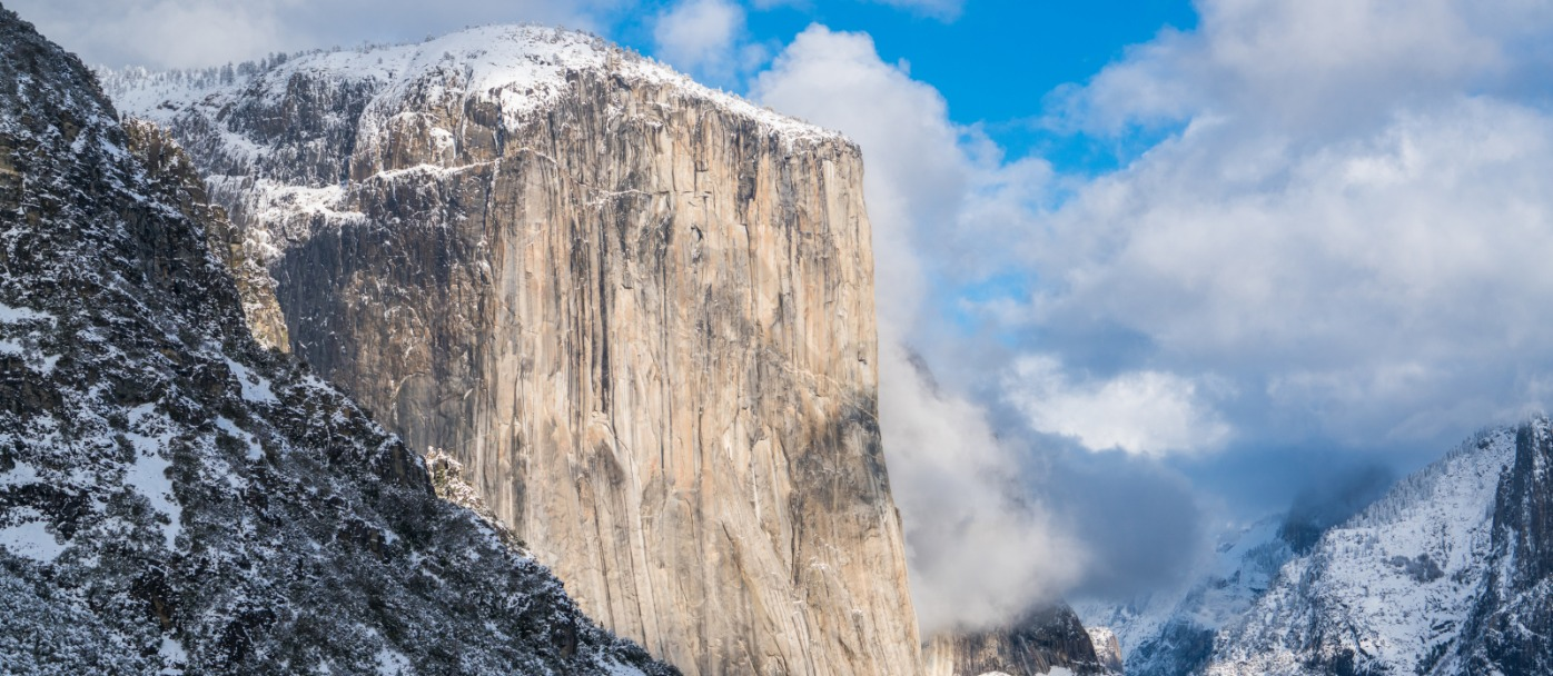 Yosemite's El Capitan in Winter viewed from Tunnel View