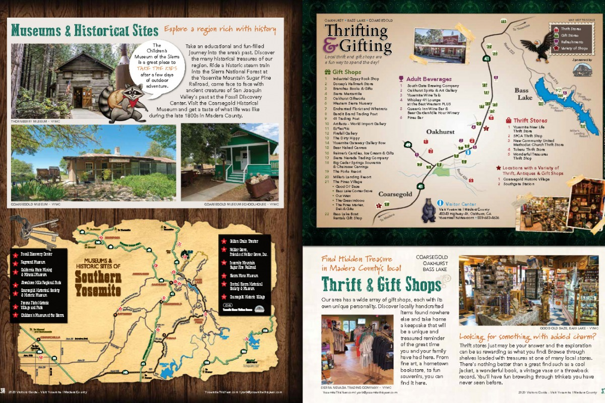 Museums & Historical Sites and Thrifting & Gifting Map spreads from 2020 Visitors Guide