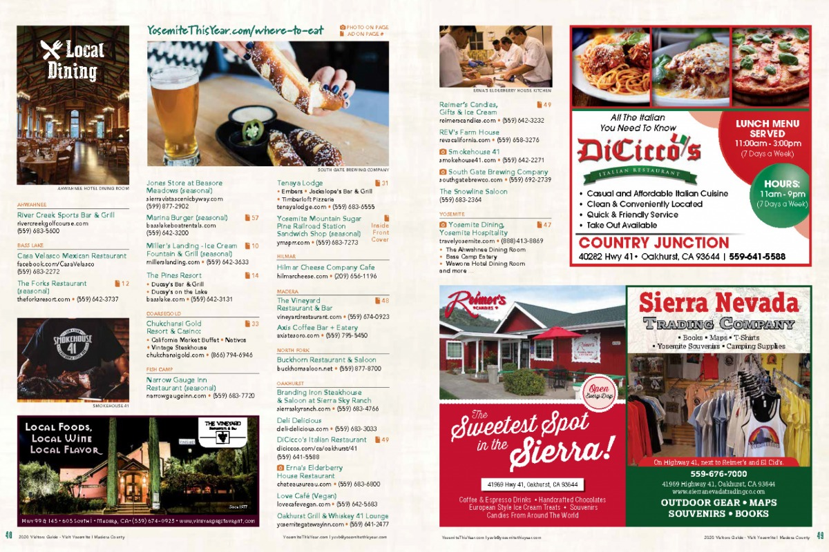 Local Dining Guide spread from the 2020 Visitors Guide