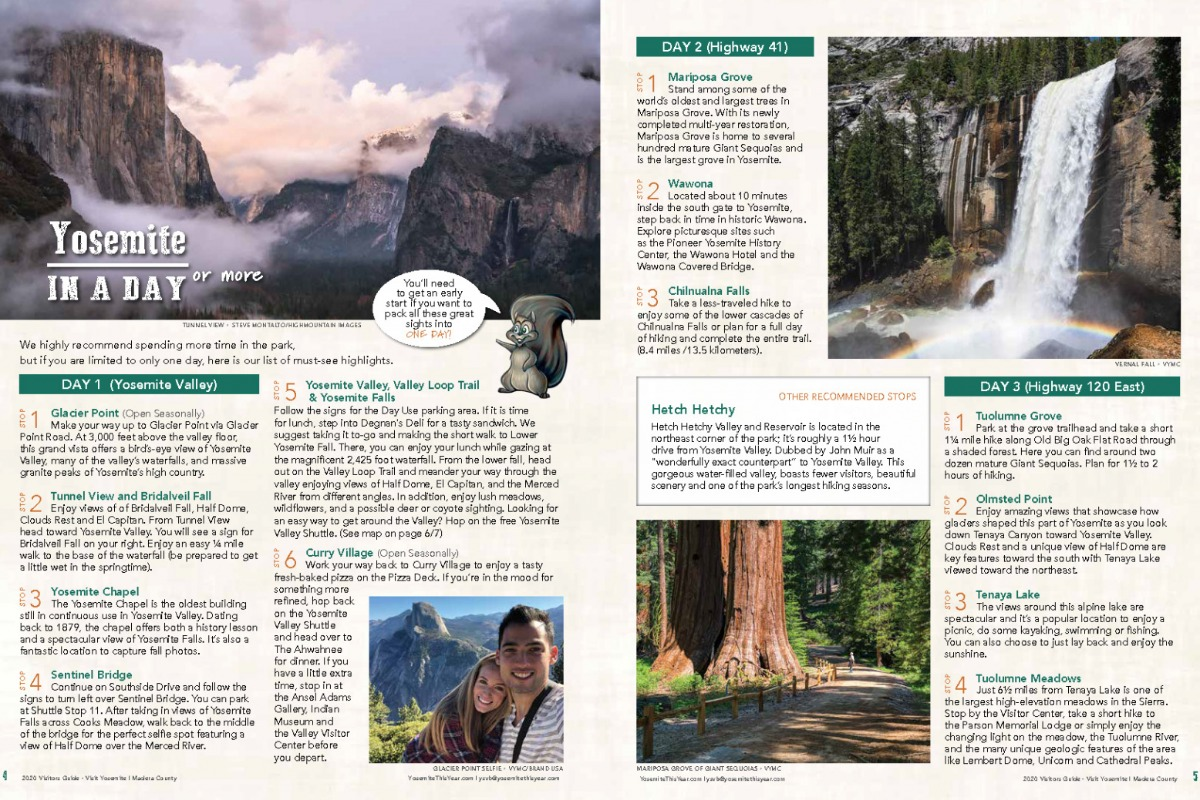 Yosemite in a day spread from 2020 Visitors Guide