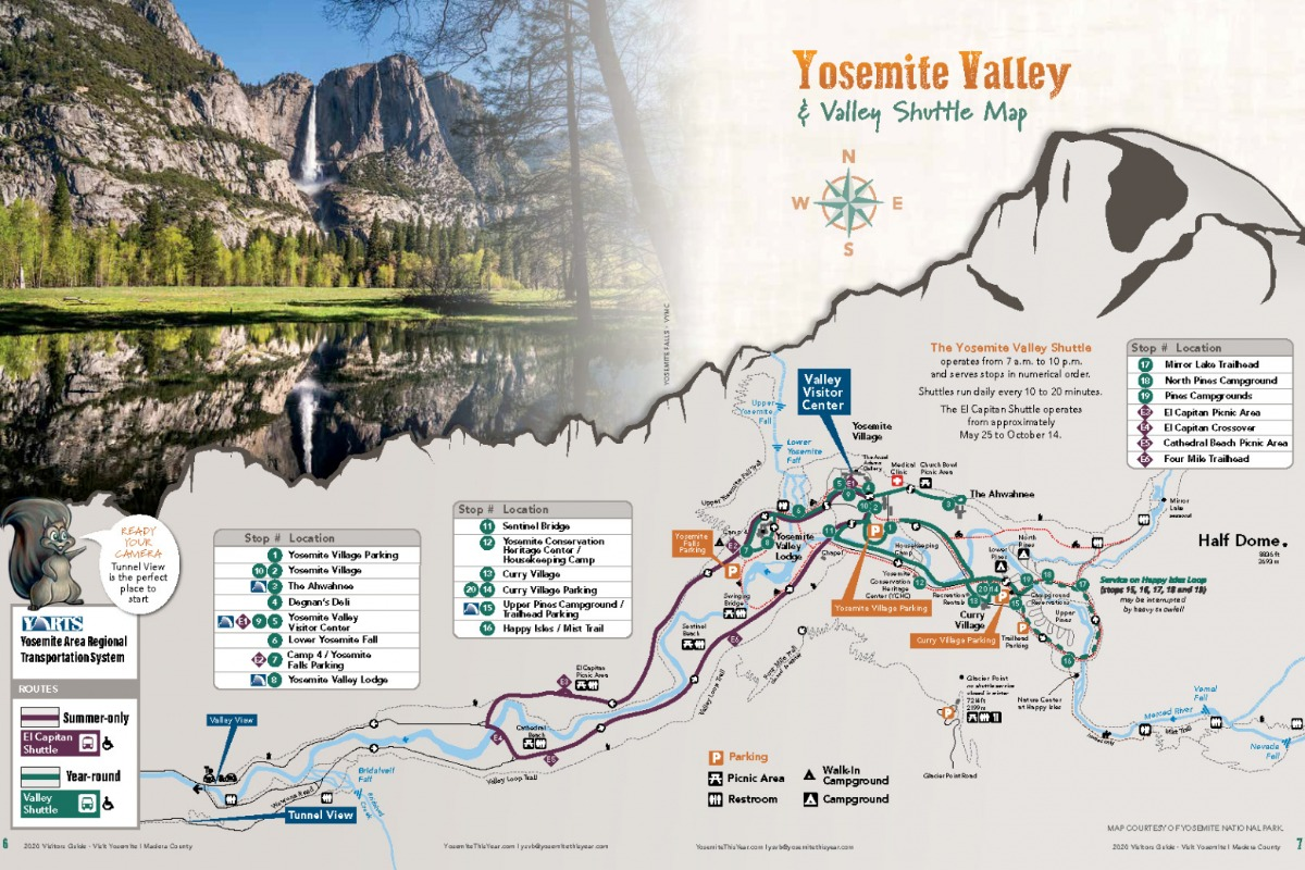 Yosemite Valley Map from 2020 Visitors Guide