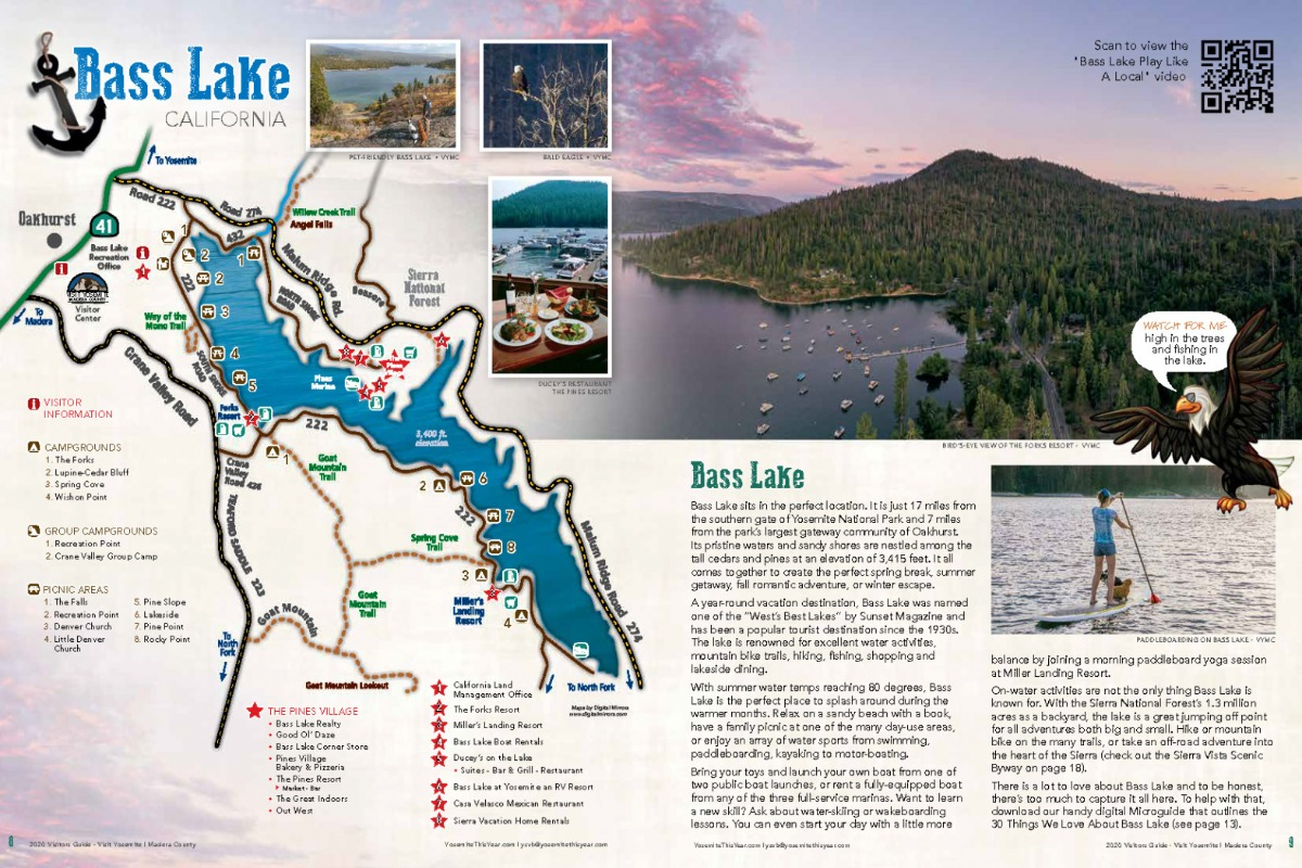 Bass Lake Map and first spread in 2020 Visitors Guide