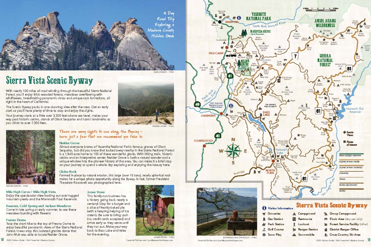 Sierra Vista Scenic Byway map and spread from 2020 Visitors Guide