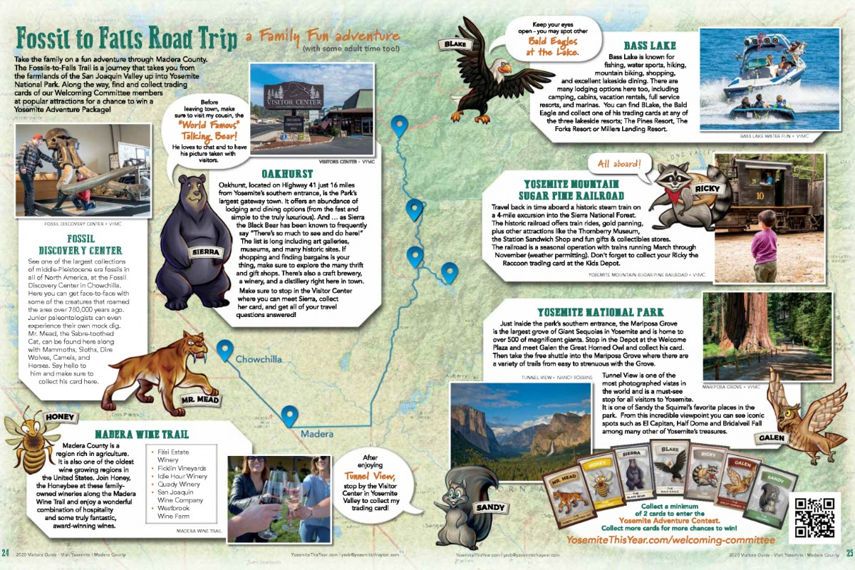 Fossils to Falls Road Trip spread from 2020 Visitors Guide