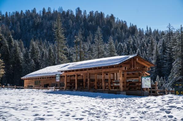 Yosemite's Mariposa Grove Welcoming Center Dressed in Winter