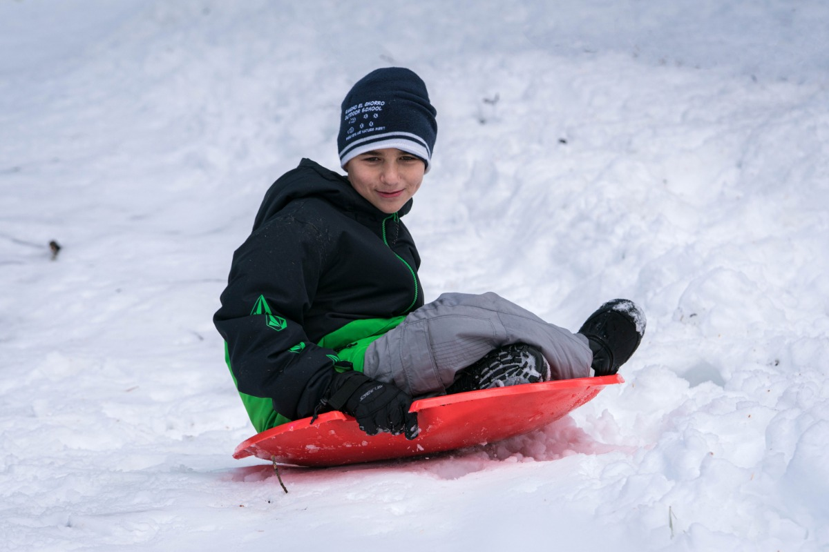 Saucer Sledding at Goat Meadow Snowplay area
