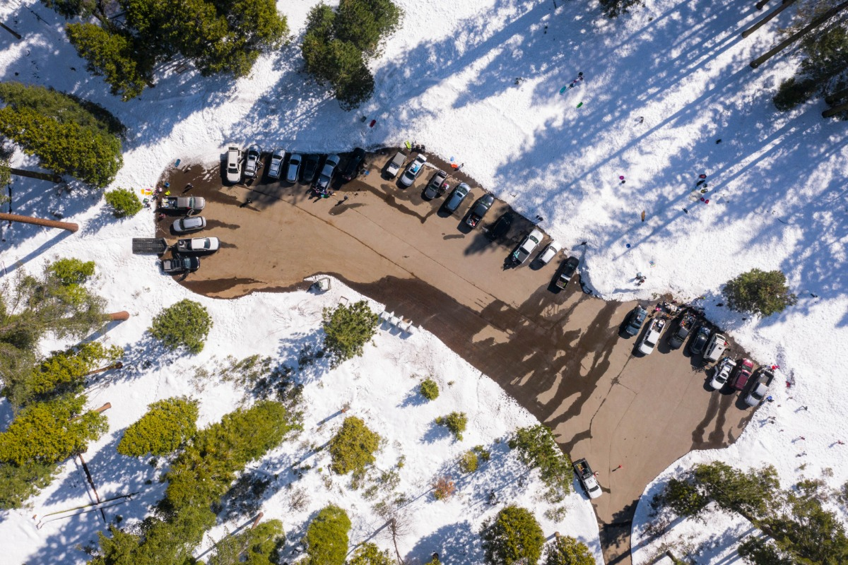 Aerial view of Goat Meadow Trailhead & Snowplay Area parking area