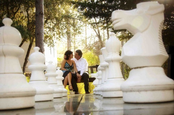 Romantic outdoor chess game at Chateau du Sureau