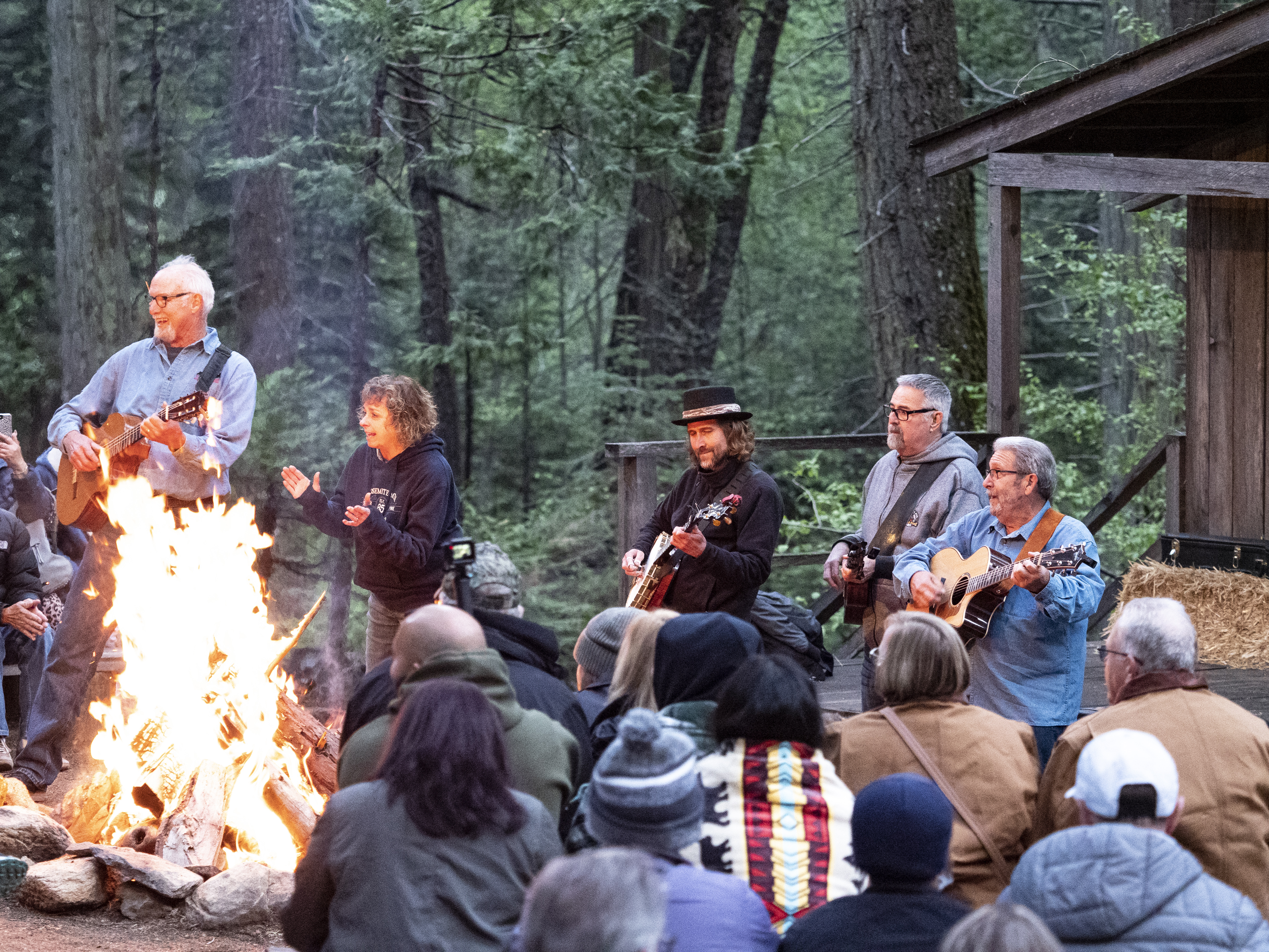 Sing-along at the Yosemite Mountain Sugar Pine Railroads Moonlight Special