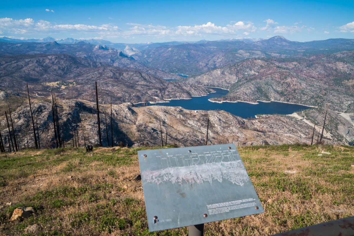 View from Mile High Vista of Mammoth Pool Reservoir and the Sierra Nevada on the Sierra Vista Scenic Byway - one year after the Creek Fire